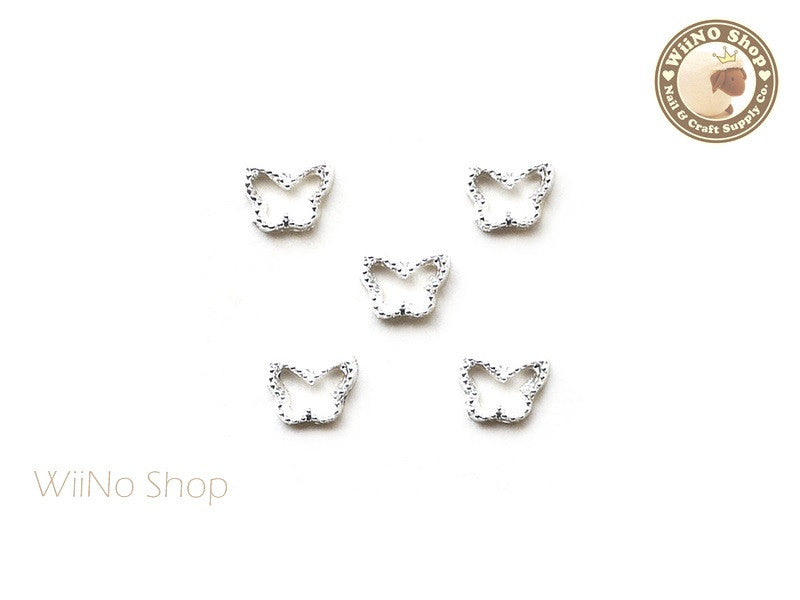 Silver Butterfly Frame Nail Art Decoration - 5 pcs