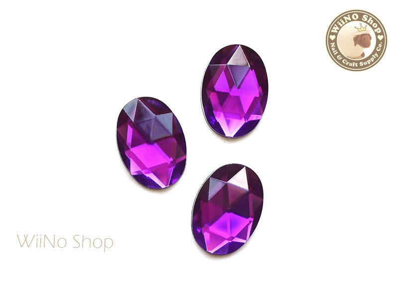 25 x 18mm Purple Violet Oval Flat Back Acrylic Rhinestone - 4 pcs