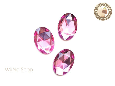 25 x 18mm Pink Rose Oval Flat Back Acrylic Rhinestone - 4 pcs