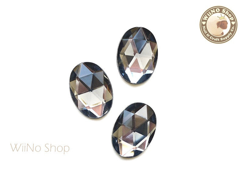 25 x 18mm Black Diamond Oval Flat Back Acrylic Rhinestone - 4 pcs
