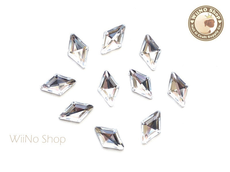 9 x 15mm Clear Rhombus Diamond Shape Acrylic Rhinestone - 10 pcs