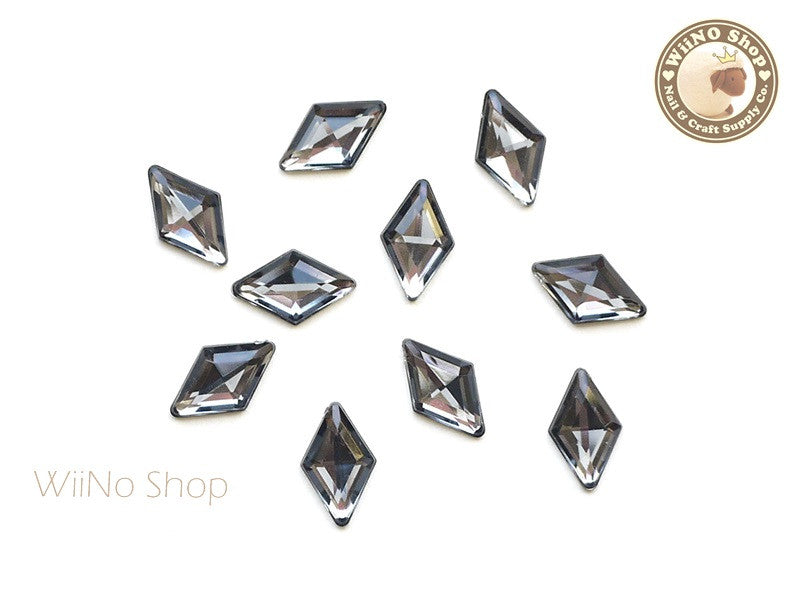 9 x 15mm Black Diamond Rhombus Diamond Shape Acrylic Rhinestone - 10 pcs