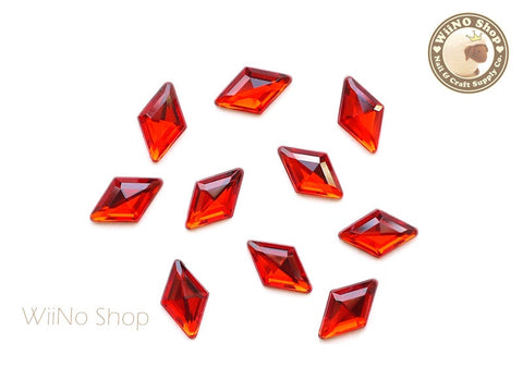 9 x 15mm Red Light Siam Rhombus Diamond Shape Acrylic Rhinestone - 10 pcs