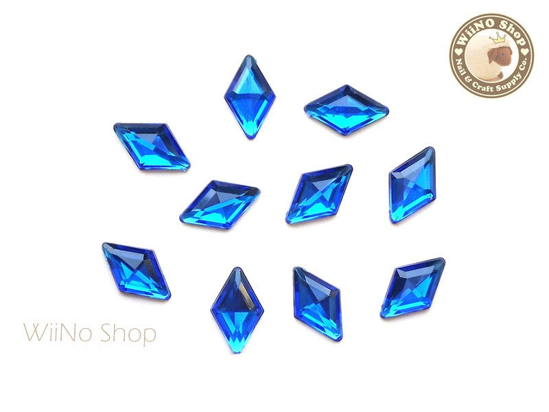 9 x 15mm Royal Blue Cobalt Rhombus Diamond Shape Acrylic Rhinestone - 10 pcs