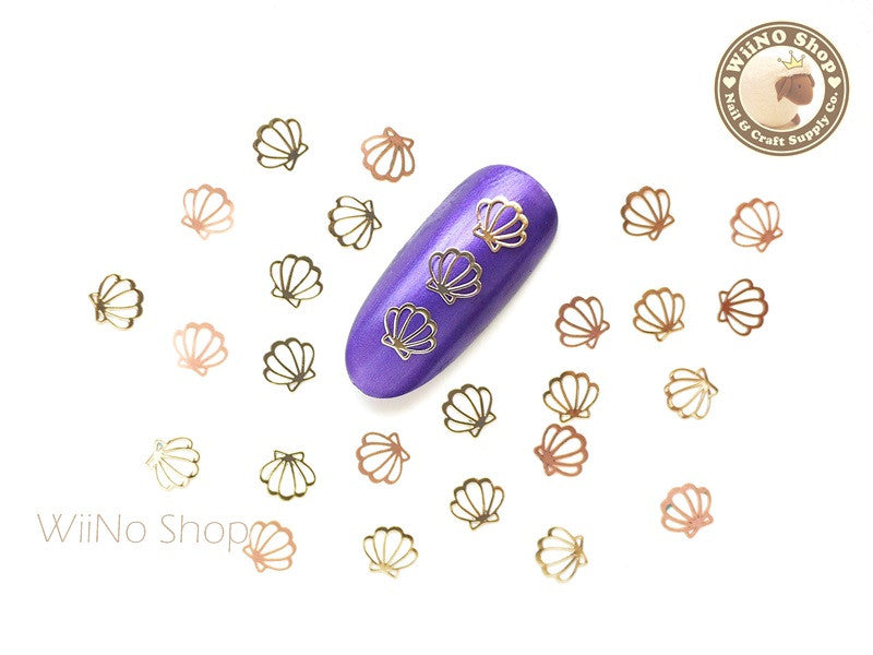 Gold Sea Shell Ultra Thin Nail Art Metal Decoration - 25 pcs
