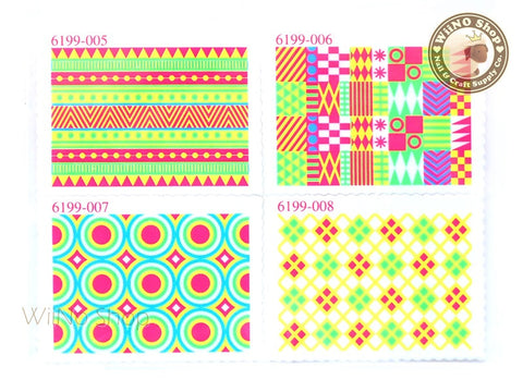 Neon Pattern Stamp Water Slide Nail Art Decals - 1pc (BLS02)
