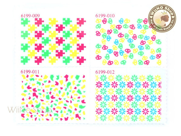 Neon Puzzle Pattern Stamp Water Slide Nail Art Decals - 1pc (BLS03)