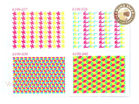 Neon Houndstooth Pattern Stamp Water Slide Nail Art Decals - 1pc (BLS10)