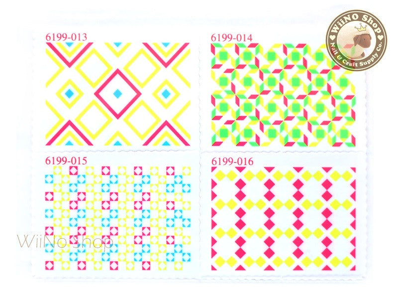 Neon Square Pattern Stamp Water Slide Nail Art Decals - 1pc (BLS04)