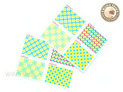 Neon Pattern Stamp Water Slide Nail Art Decals - 1pc (BLS05)