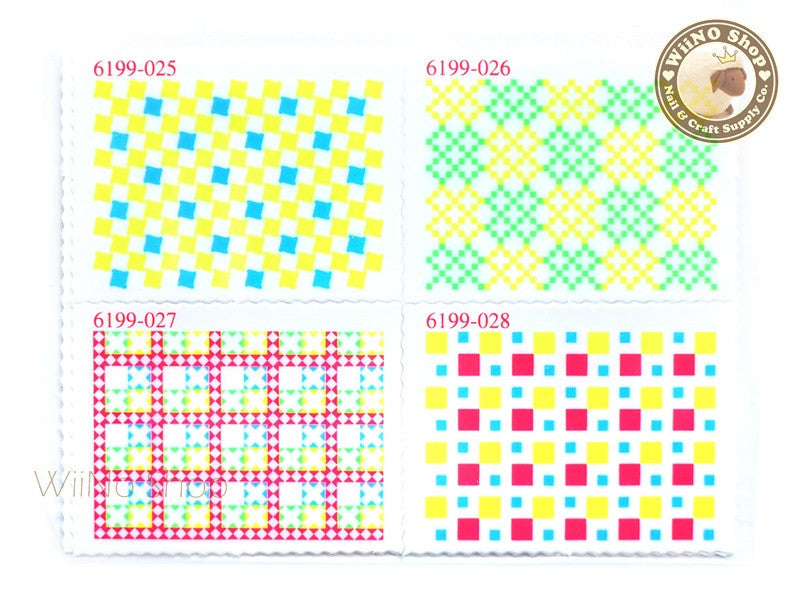 Neon Pattern Stamp Water Slide Nail Art Decals - 1pc (BLS07)