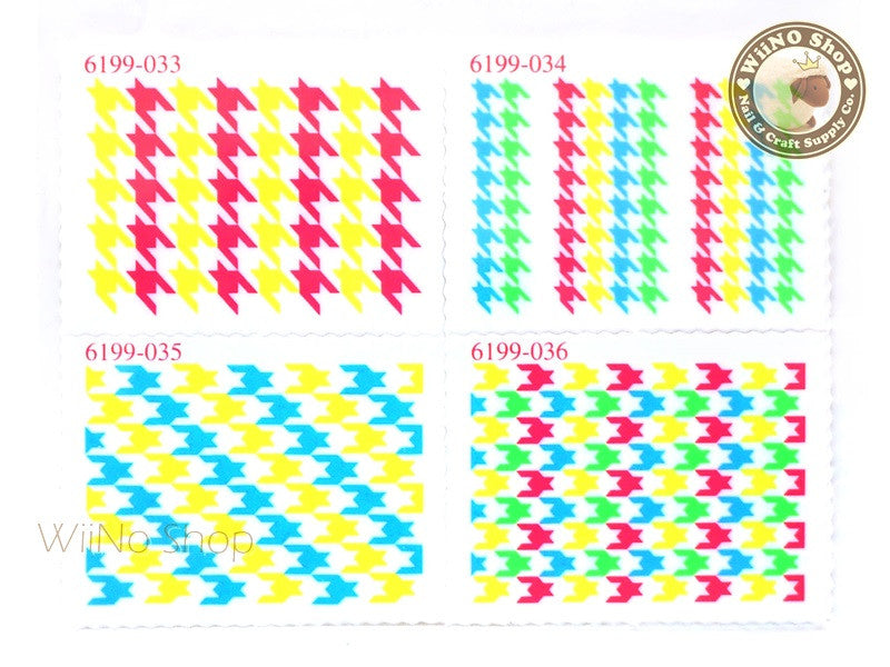 Neon Houndstooth Pattern Stamp Water Slide Nail Art Decals - 1pc (BLS09)