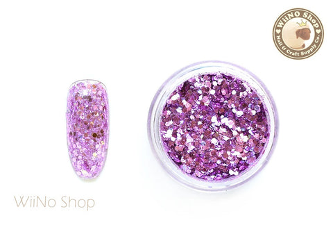 Lilac Pink Hexagon Mixed with Glitter Dust (A20)