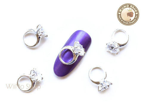 Silver Diamond Ring Nail Metal Charm - 2 pcs