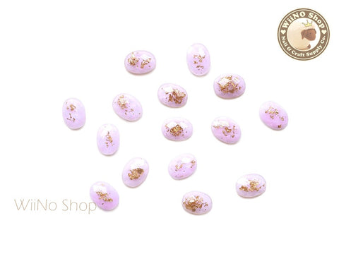 6 x 8mm Purple Gold Foil Glitter Oval Flat Back Acrylic Rhinestone Cabochon Nail Art - 10 pcs