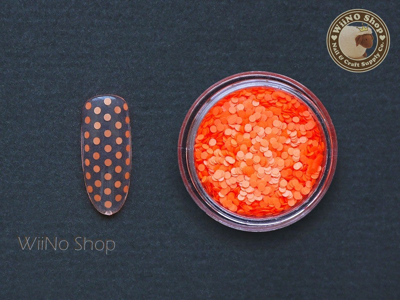 1mm Neon Orange Round Dots Glitter