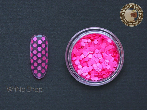 2mm Neon Hot Pink Round Dots Glitter