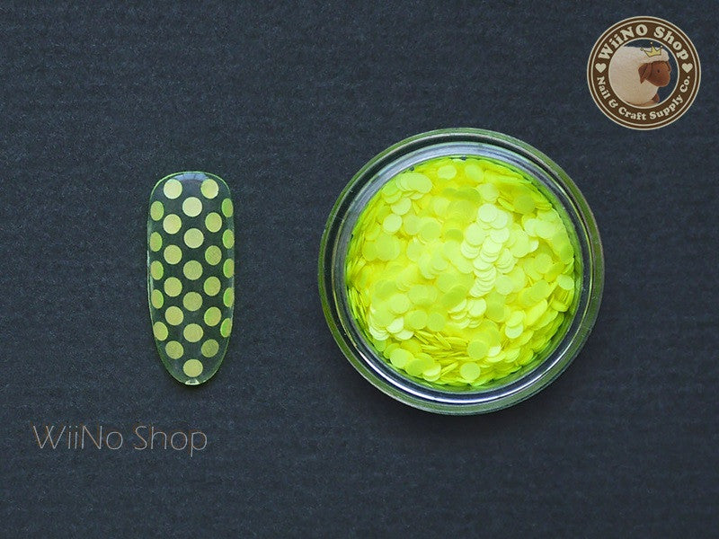 2mm Neon Yellow Round Dots Glitter