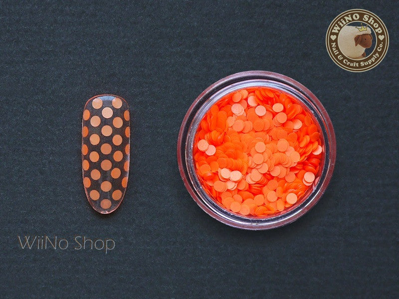 2mm Neon Orange Round Dots Glitter