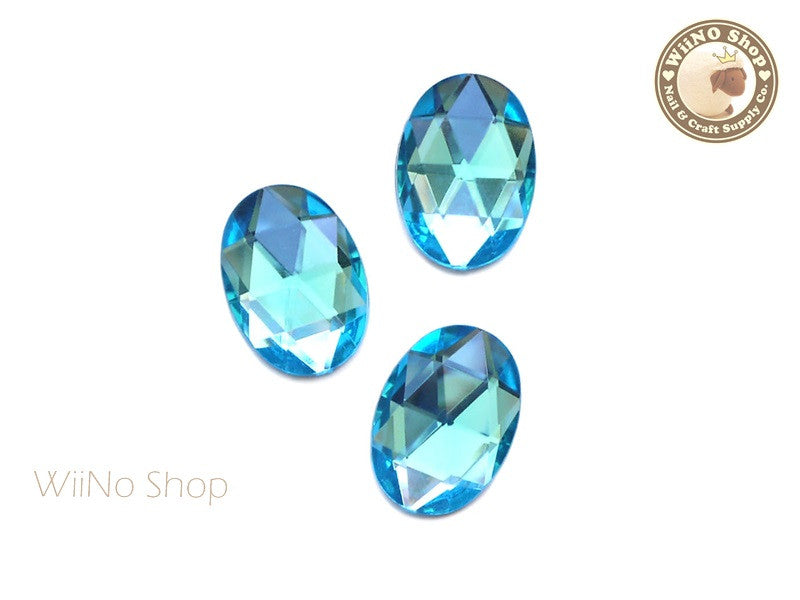 25 x 18mm Blue Aquamarine Oval Flat Back Acrylic Rhinestone - 4 pcs