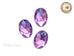 25 x 18mm Purple Amethyst Oval Flat Back Acrylic Rhinestone - 4 pcs