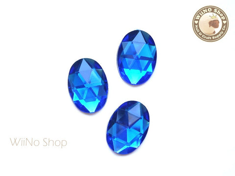 25 x 18mm Royal Blue Cobalt Oval Flat Back Acrylic Rhinestone - 4 pcs