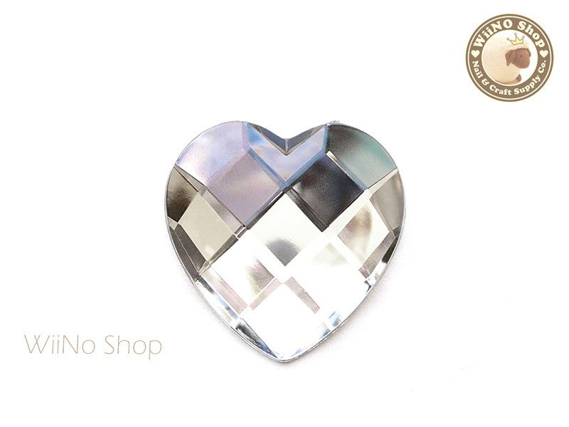 40mm Large Clear Heart Square Cut Flat Back Acrylic Rhinestone - 1 pc