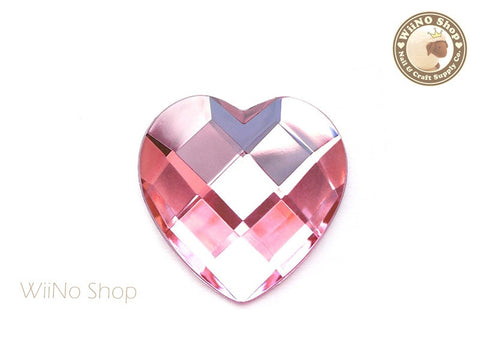 40mm Large Pink Light Rose Heart Square Cut Flat Back Acrylic Rhinestone - 1 pc