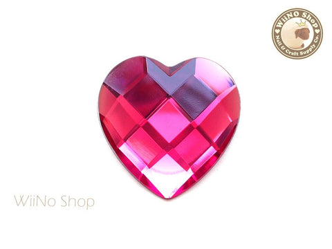 40mm Large Fuchsia Hot Pink Heart Square Cut Flat Back Acrylic Rhinestone - 1 pc
