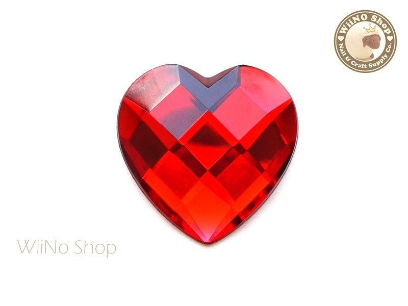 40mm Large Red Siam Heart Square Cut Flat Back Acrylic Rhinestone - 1 pc