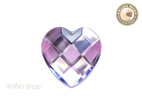 40mm Large Pruple Lavender Heart Square Cut Flat Back Acrylic Rhinestone - 1 pc