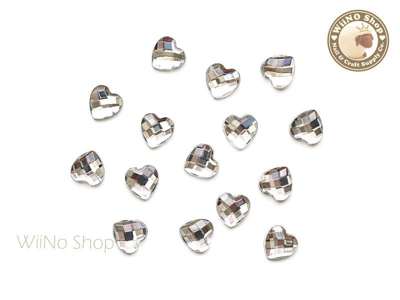 8mm Clear Heart Square Cut Flat Back Acrylic Rhinestone - 15 pcs