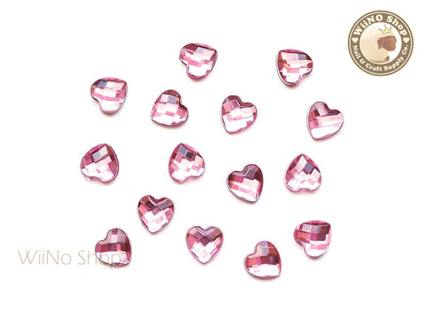 8mm Pink Light Rose Heart Square Cut Flat Back Acrylic Rhinestone - 15 pcs