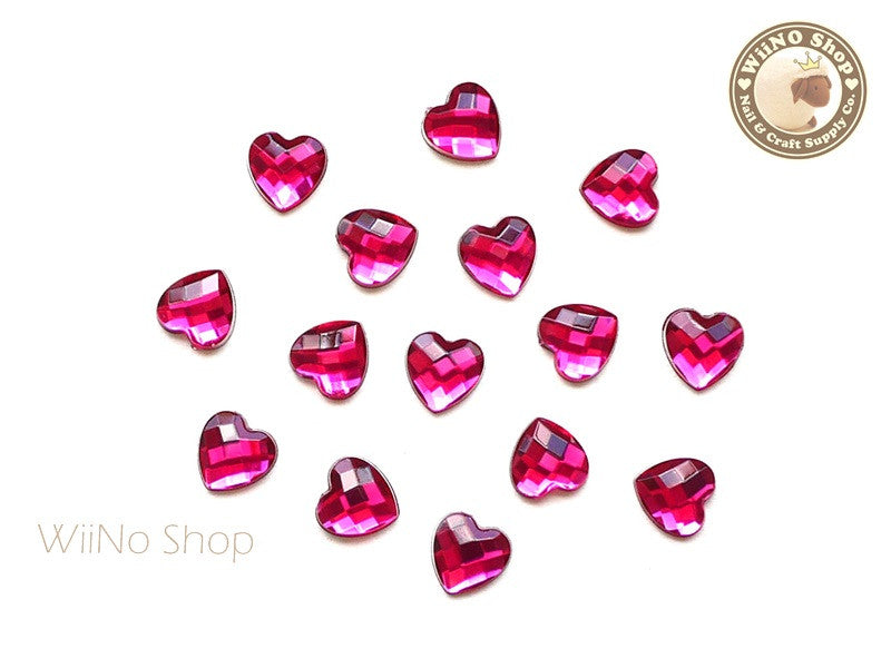 8mm Fuchsia Hot Pink Heart Square Cut Flat Back Acrylic Rhinestone - 15 pcs