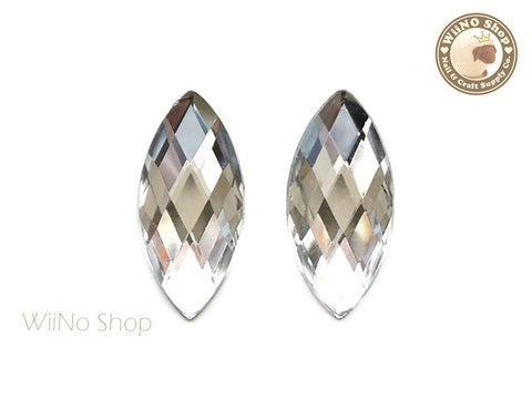 32 x 15mm Clear Marquise Navette Square Cut Flat Back Acrylic Rhinestone - 2 pcs