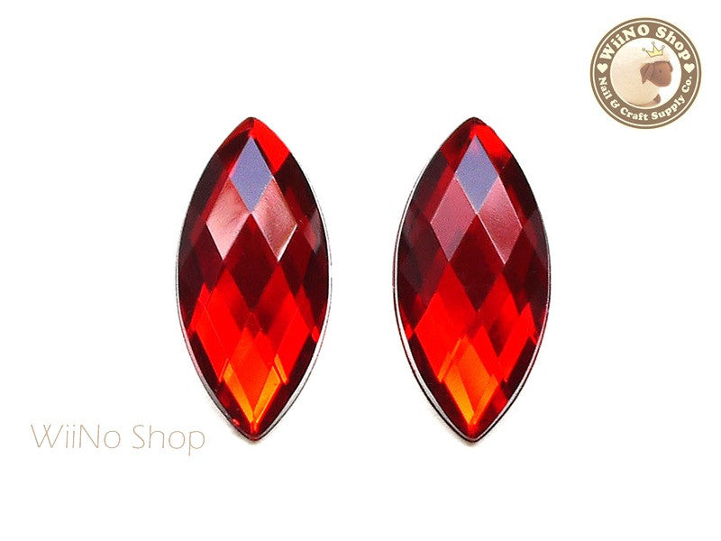 32 x 15mm Red Siam Marquise Navette Square Cut Flat Back Acrylic Rhinestone - 2 pcs