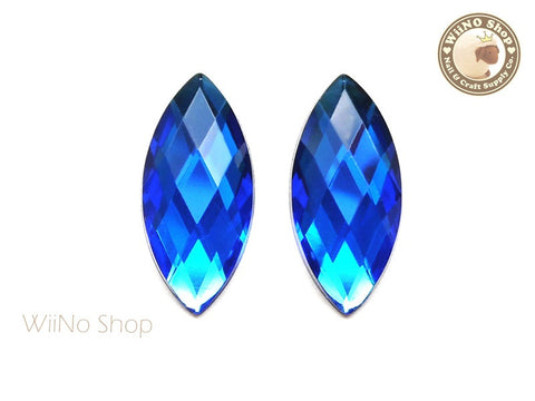 32 x 15mm Royal Blue Cobalt Marquise Navette Square Cut Flat Back Acrylic Rhinestone - 2 pcs