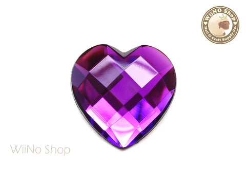 40mm Large Pruple Violet Heart Square Cut Flat Back Acrylic Rhinestone - 1 pc