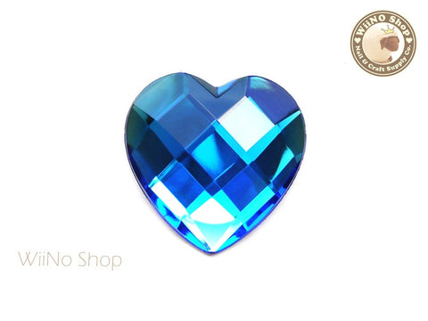 40mm Large Royal Blue Cobalt Heart Square Cut Flat Back Acrylic Rhinestone - 1 pc