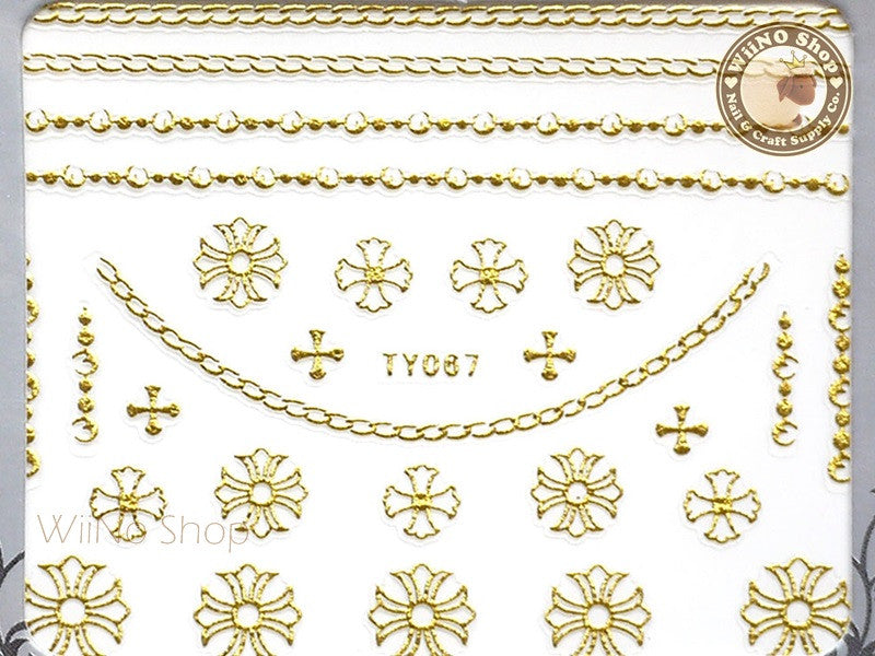Chrome Hearts Gold Style Cross Chain Adhesive Nail Sticker Nail Art - 1 pc (TY067G)