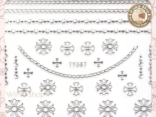 Chrome Hearts Silver Style Cross Chain Adhesive Nail Sticker Nail Art - 1 pc (TY067S)