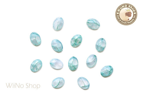 6 x 8mm Teal Green Ice Crackle Oval Flat Back Acrylic Cabochon Nail Art - 10 pcs