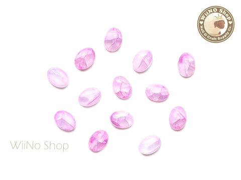 6 x 8mm Pink Ice Crackle Oval Flat Back Acrylic Cabochon Nail Art - 10 pcs