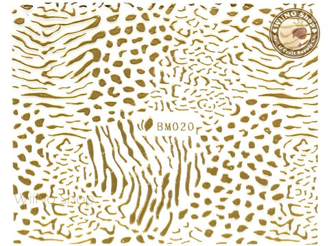 Gold Zebra Leopard Pattern Adhesive Nail Sticker Nail Art - 1 pc (BM020G)