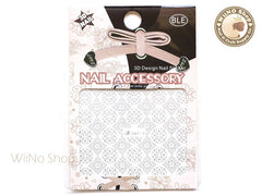 Silver Square Floral Pattern Adhesive Nail Sticker Nail Art - 1 pc (BM014S)