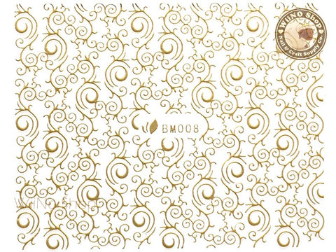 Gold Swirl Pattern Adhesive Nail Sticker Nail Art - 1 pc (BM008G)
