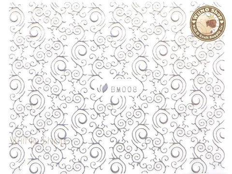 Silver Swirl Pattern Adhesive Nail Sticker Nail Art - 1 pc (BM008S)