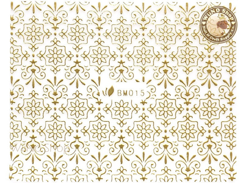 Gold Floral Pattern Adhesive Nail Sticker Nail Art - 1 pc (BM015G)