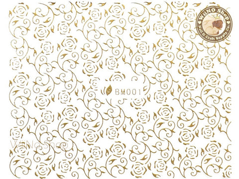 Gold Rose Pattern Adhesive Nail Sticker Nail Art - 1 pc (BM001G)