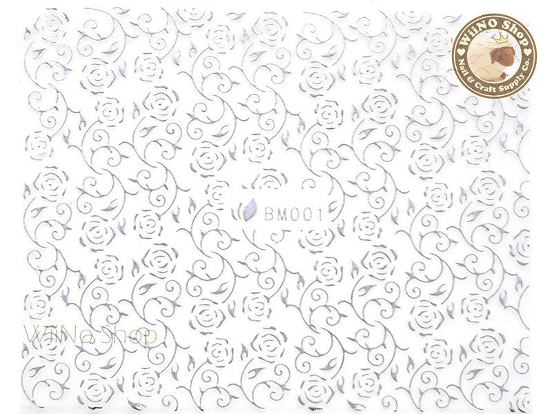 Silver Rose Pattern Adhesive Nail Sticker Nail Art - 1 pc (BM001S)